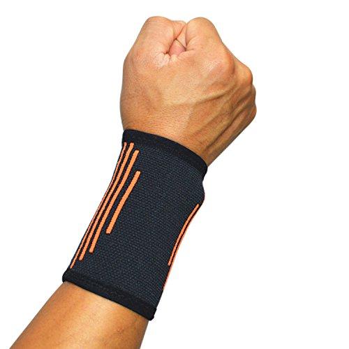 Libertepe Sport Wristbands Armband Elastisch Atmungsaktiv Handgelenkstütze Armschiene Hand Wrist Straps Wraps Sweatband Für Basketball Tennis Badminton (Schwarz)