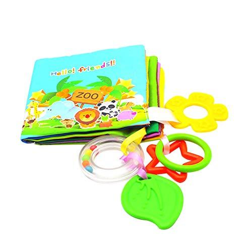Scrox 1x Libros de Tela para Bebes Inglés Libro Educativo Bebe con mordedor Bebes Libros Blandos Creativo Regalos para Bebes Libros Infantiles Juguete Interactivo (Zoo)
