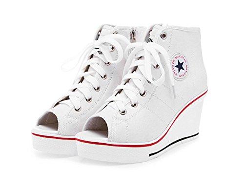 Wealsex Basket Montante Compensées Femme Bout Ouvert Chaussure Toile Plateforme Grande Taille 40 41 42 43 Blanc