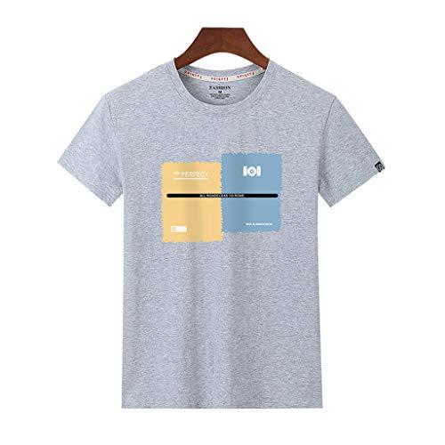 Tohole Herren T- Shirt O-Neck Print Kurzarmshirt Top Shirt Sleeve Basic Herren Rundhals Männer Casual Printed Rundhals Kurzarm T-Shirt Top Klassischer Street Style(grau 3,3XL)