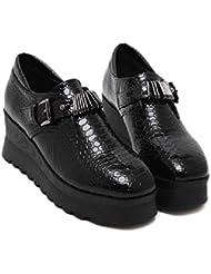 Onfly Bomba Zapatos casuales Tacones de cuña De las mujeres Retro Cómodo Dedo del pie cuadrado Hebilla de cinturón de metal Plataforma gruesa Patrón de piel de serpiente Zapatos de la Corte Muffins Zapatos , black , 36