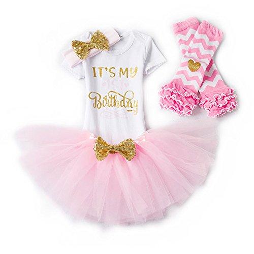 Set 4 Blusen Kleid Baby Mädchen Kleidung 1. 2. Geburtstag Geschenk Outfits Prinzessin Kleid Kinder Stück Romper + Rock Tütü Pettiskirt + Glitzer Bowknot Stirnband +Gamaschen (Ersten Geburtstag Kleid)