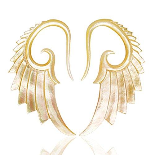 3mm Paar Bio-Perlmutt-Schwanen-Flügel-Kegel-Ohr-Stretcher-Ohrring (VERKAUFT IN (Paaren Kostüme Für)