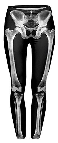 Alive Damen Supernova Einhorn Regenbogen-Leggings mit Digitaldruck, Einheitsgröße, Skelett (Halloween Leggings Skelett)
