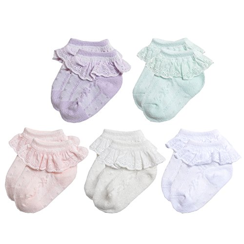NovForth Baby-Girls Eyelet Frilly Lace Socks,Newborn Infant Toddler Little Girls