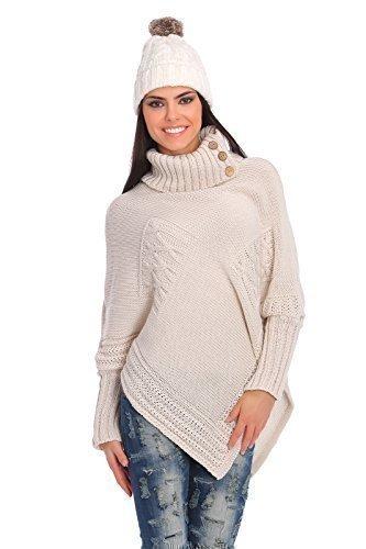 futuro Fashion femmes Lourds épais poncho tricoté garde au chaud Pull-over Col roulé pull avec Boutons Acrylique PULL TAILLE 8-14 fas9x Beige