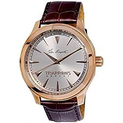 Triarrows Classic Herren-Armbanduhr 45mm Armband Leder Braun Gehäuse Edelstahl Quarz Analog TGY01