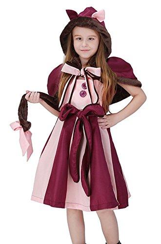 EOZY Kinder Mädchen Katze Kostüm Halloween Tierkostüm Karneval Fasching Verkleidung S Körpergröße (Vampir Katze Halloween Kostüm)