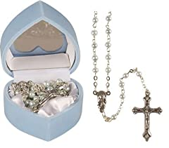 Idea Regalo - Rosario per bambina, ideale come regalo di battesimo, colore: blu perlato, compreso un opuscolo in lingua inglese dal titolo