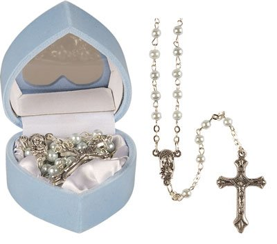 Baby-Boys-Baptism-Gift-childs-FIRST-ROSARY-BEADS-blue-pearl-effect-rosaries-including-a-How-to-Pray-the-Rosary-leaflet