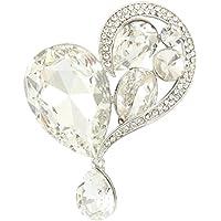 EVER FAITH Austriaco di cristallo Splendida cuore di amore di goccia Spilla Gold-Tone Cancella N05331-4