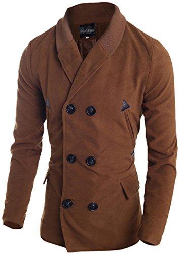 Jeansian Manteau et Blousons Long Homme Hiver Men's Fashion Lapel Double Breasted Long Winter Jacket Coat 9560 DarkBrown