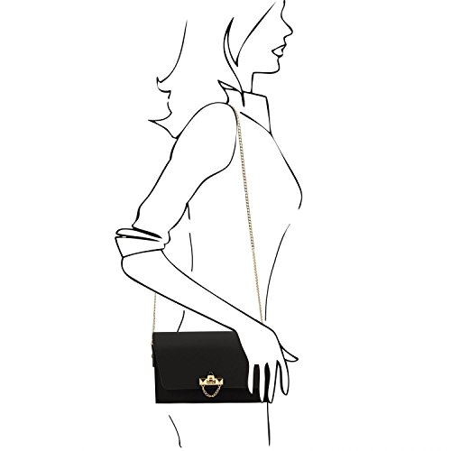 Tuscany Leather TL Bag Pochette in pelle Ruga con tracolla a catena - TL141653 (Talpa chiaro) Nero