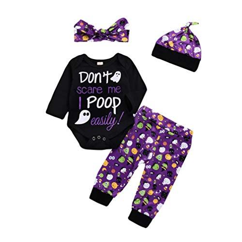 OdeJoy Kleinkind Baby Mädchen Langeärmel Karikatur Brief Gedruckte HA Yi + Hose + Hut + Haarband 4 Stück Halloween Kostüm Outfits Romper Pants Baumwolle Costume Outfits (Schwarz,100)