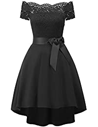 Laorchid Vintage Damen Kleid Spitzenkleid Off Schulter Cocktail Knielang A- Linie f88932f9d9