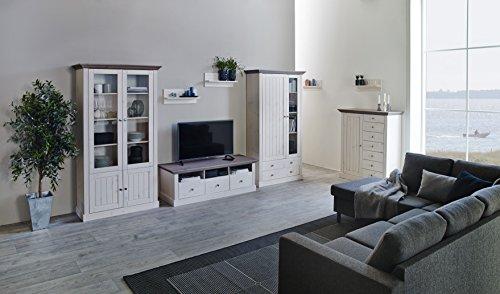 Steens 7317012269001F Monaco Wohnwand, Kiefer massiv, circa 355 x 190 x 56 cm, weiß / grau lasiert - 3