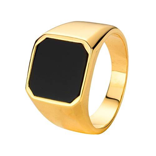 Lucardi - Vergoldeter Herrenring Onyx für Herren - - Größe 57 (18.1) mm