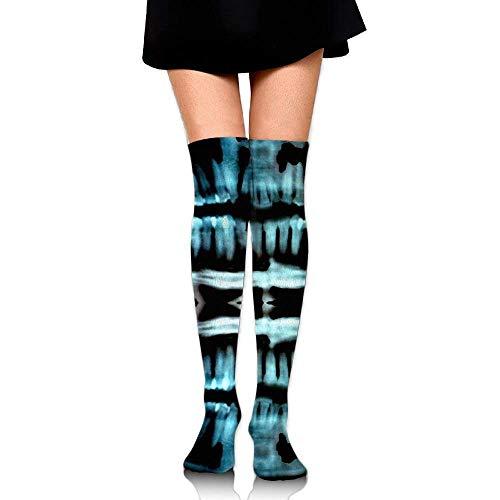 Gped Kniestrümpfe,Socken,Halloween Spooky Skeleton Teeth Upgraded Knee High Graduated Compression Socks for Women and Men - Best Medical,Nursing,Travel & Flight Socks - Running & Fitness 50 CM