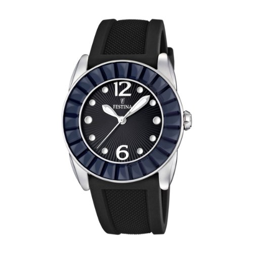 Festina Ladies Analogue Watch F16540/8 with Rubber Strap and Black Dial