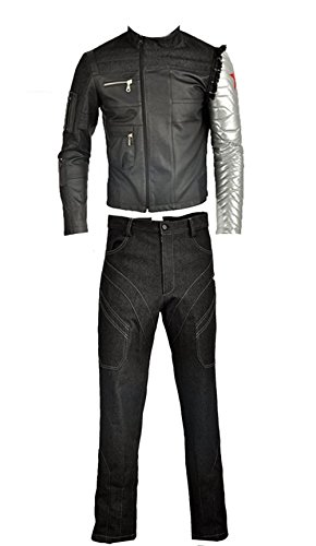 Für Kostüm Erwachsene Winter Soldier - Cosplayfly Erwachsene Captain America Bucky Barnes Cosplay Kostüm Full Set,Collegejacke,Schwarz
