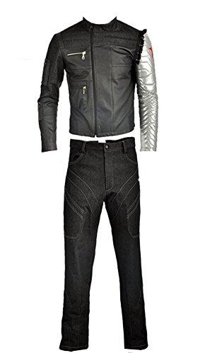 Cosplayfly Erwachsene Captain America Bucky Barnes Cosplay Kostüm Full Set,Collegejacke,Schwarz (Winter Soldier Captain America Kostüm)