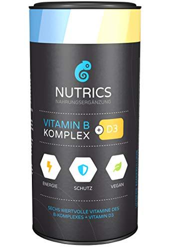 Nutrics I Vitamin B Komplex + D3 I 120 Kapseln hochdosiert I 100% Vegane Wirkkombination I Made in Germany -