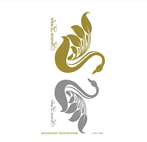 Drthukg adesivo tatuaggio tatuaggi temporanei di piccole dimensioni in oro e argento, adesivo per tatuaggi corpo in oro lucido lucido metallico fiore farfalla r