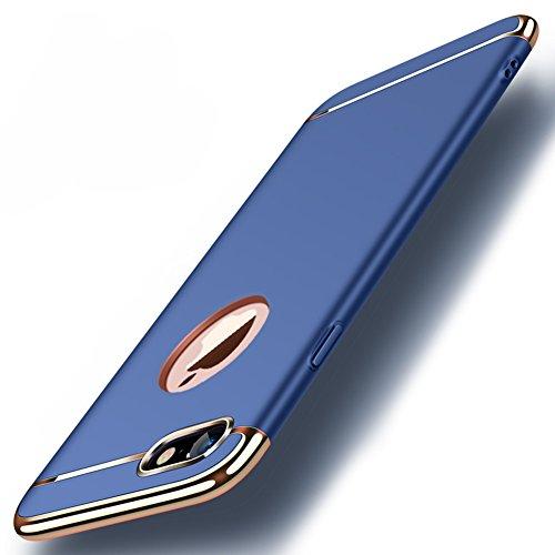 """Apple iPhone 8 (4.7"""") Hülle, MSVII® 3-in-1 Design PC Hülle Schutzhülle Case Und Displayschutzfolie für Apple iPhone 8 (4.7"""") - Gold JY50178 Blau"""
