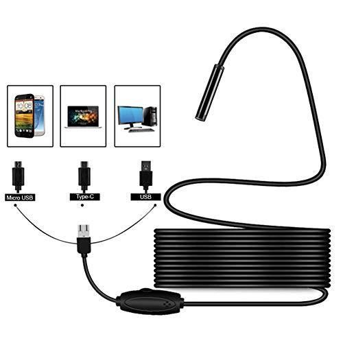 LJYNKJ Ultradünne 6,6 mm Durchmesser Sonden USB Endoskop mit USB C Adapter Inspektionskamera wasserdichte Kamera für Android 4.4 oder höher/Windows/Mac 5M Kabel -