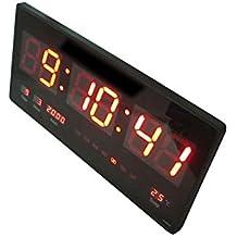 Orologio digitale a LED da parete con datario temperatura e lettura nitida. Ottimo per bar chiosco gelateria sala d'attesa e uffici. 45x22x3 CM