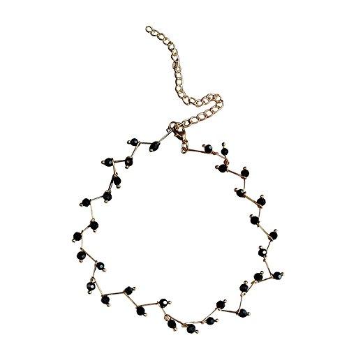 Funie fashion wave catena nero perline fascino choker partito collana girocollo donne gioielli–nero