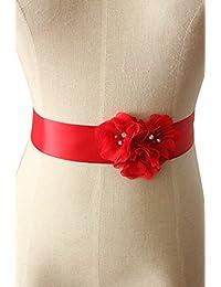 Lemandy Three Handmade Flowers Romantic Wedding Evening Dress Belts in 15 Colors
