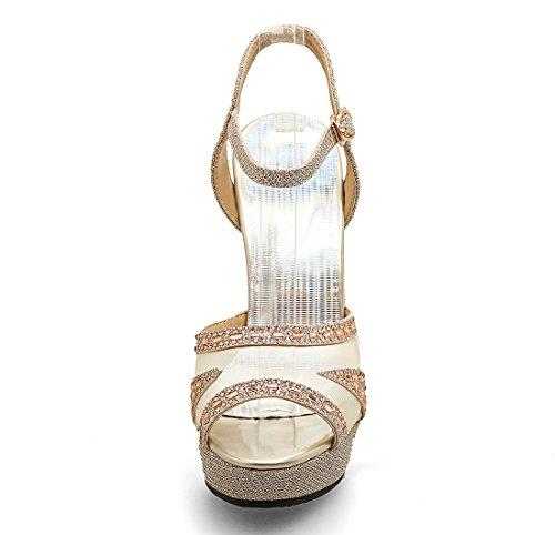 Cinghia Sandali Cavità Caviglia Modo E Plateau Uh Donne Stiletti Dell'oro Luminoso Luccica xRE0Stq