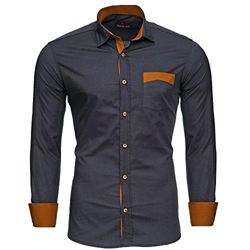 Reslad Männer Hemd bügelfrei Slim Fit Freizeit-Hemden Party Disco Business Herren Zweifarbig Langarm RS-7205 Anthrazit XL