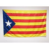 BANDERA de CATALUÑA ESTELADA BLAVA 150x90cm en RASO para palo - BANDERA CATALANA INDEPENDENTISTA – CATALUNYA 90 x 150 cm - AZ FLAG