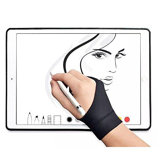 Guantes antiincrustantes de dos dedos para dibujo, para tabletas, gráficos, luz de rastreo, monitor gráfico, 1 par