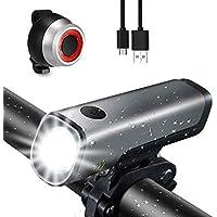 Gretrue LED Luz Delantera y Trasera Bicicleta Lámpara Impermeable IPX5 USB Frontal Posterior Recargable 4 Modo