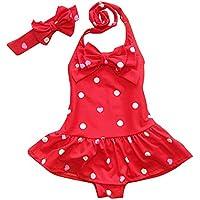 Moollyfox Traje de Baño de Una Pieza Bañador de Tipo Vestido con Cinta de Cabeza Dulce Infantil Swimwear para Niña Niñita 1 - 8 Años Rojo S