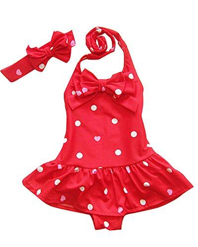 Moollyfox Bambina Costumi da Bagno Polka Dots Bikini con l'arco Swimsuit Swimwear Dress Playsuit Up 1-8anni con Archetto Rosso M