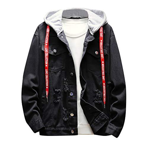 Geilisungren Herren Jeansjacke Knöpfe Jeans Jacket Sweatshirt Sweatjacke Männer Vintage Washed Destroyed Patchwork Denim Jacke...