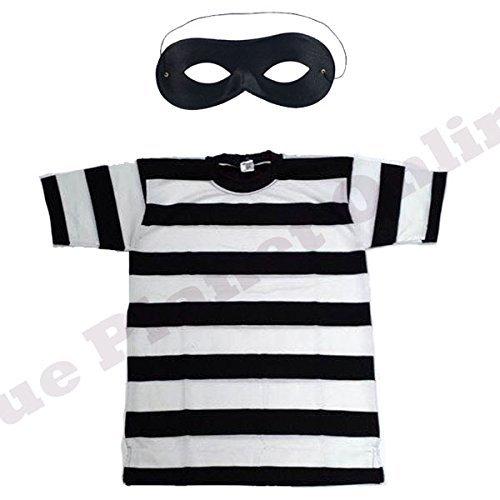 Childrens Kids Burglar Robber Thief Striped T Shirt & Eye Mask Fancy Dress Costume (10-12 years) by Blue Planet Online