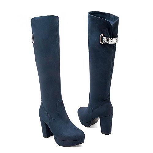 VogueZone009 Damen Hoher Absatz Mattglasbirne Knie Hohe Reißverschluss Stiefel Blau