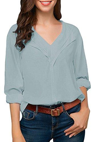 Aleumdr camicetta chiffon donna tinta unita bluse e camicie donna scollo v camicetta blusa donna rollo manica lunga - blu chiaro