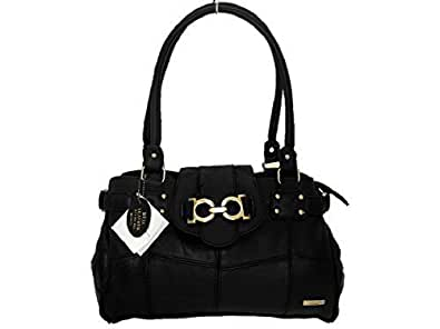 Ladies Genuine Leather Handbag ( Black )
