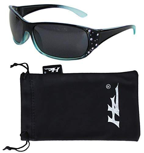 Hornz HZ Serie Elettra - Frauen Prämie Polarisierte Sonnenbrillen (Schwarzer und blauer Rahmen - dunkle Rauch-Linse)