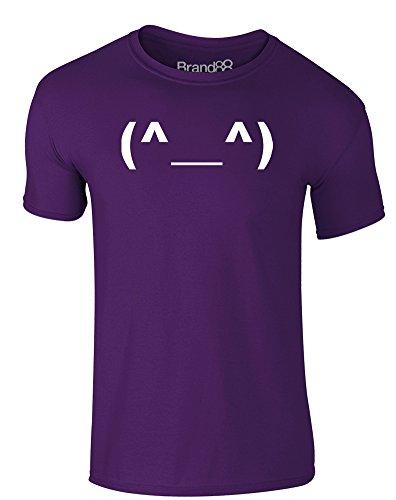 Brand88 - Happy Emoticon, Erwachsene Gedrucktes T-Shirt Lila/Weiß