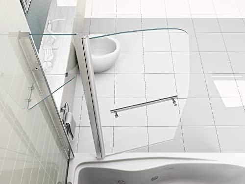 HNNHOME 180°-schwenkbare Doppel-Duschwand, für die Badewanne, mit Handtuchhalter und Ablage, 6mm Dickes Glas