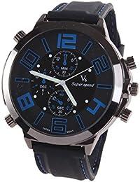 Reloj de hombre - V6 Reloj de pulsera banda de silicona de Acero de Cuarzo de esfera super grande guapo de hombre Azul