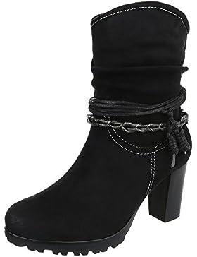 High Heel Stiefeletten Damenschuhe Schlupfstiefel Pump Western Style Reißverschluss Ital-Design Stiefeletten