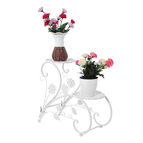 Portavasi in ferro espositore per bonsai,scala per fiori a cuore,mensola per giardino esterno scaletta portafiori fioriera decorativa,per 2 vasi,45 * 21 * 40.6cm (bianco)